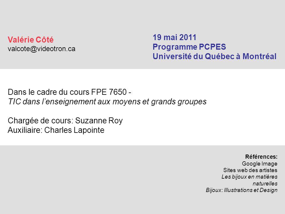 Dans le cadre du cours FPE 7650 - TIC dans l'enseignement aux moyens et grands groupes Chargée de cours: Suzanne Roy Auxiliaire: Charles Lapointe Réfé