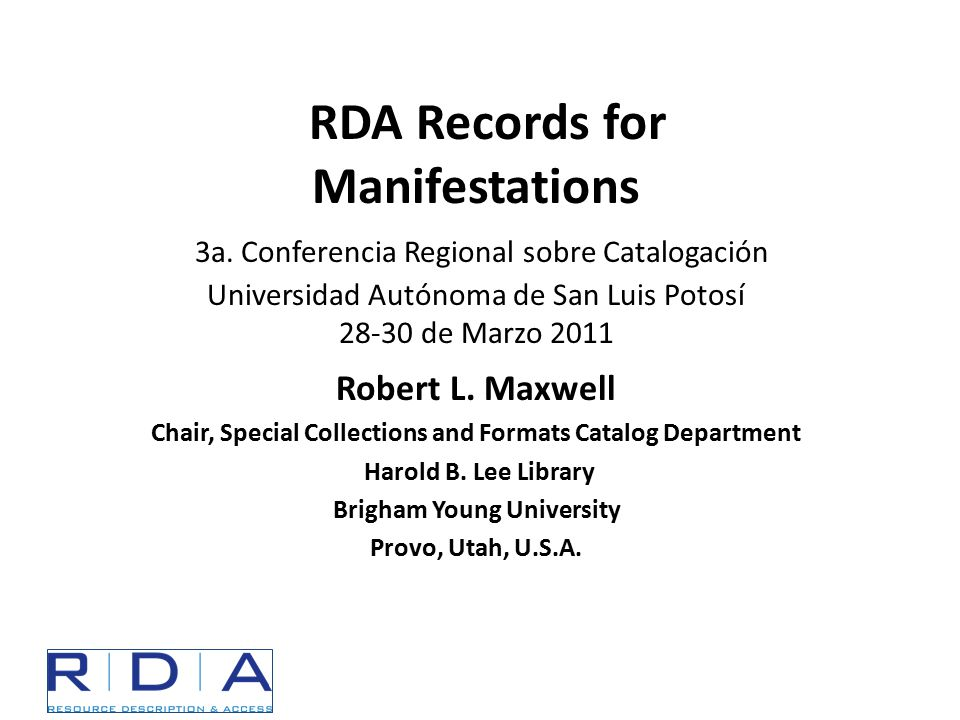 RDA Toolkit Online tool: http://www.rdatoolkit.org/ Username for this week: potosi Password for this week: rda