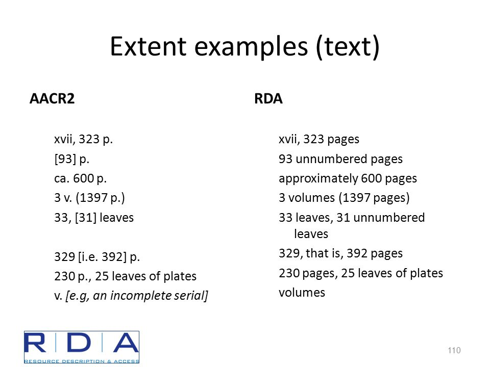 Extent examples (text) AACR2 xvii, 323 p. [93] p.