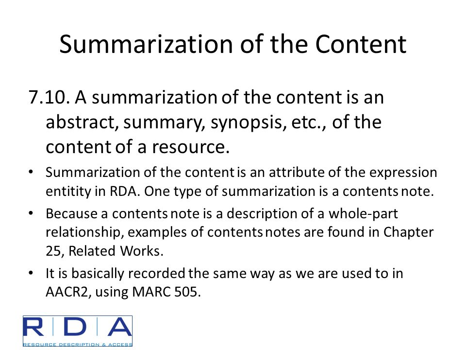 Summarization of the Content 7.10.