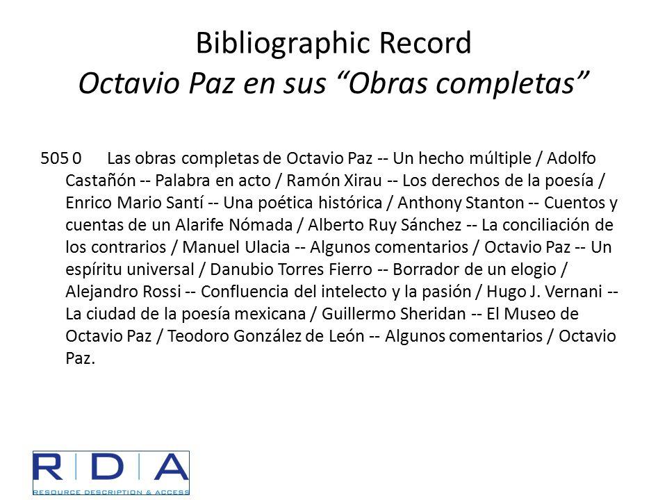 """Bibliographic Record Octavio Paz en sus """"Obras completas"""" 505 0Las obras completas de Octavio Paz -- Un hecho múltiple / Adolfo Castañón -- Palabra en"""