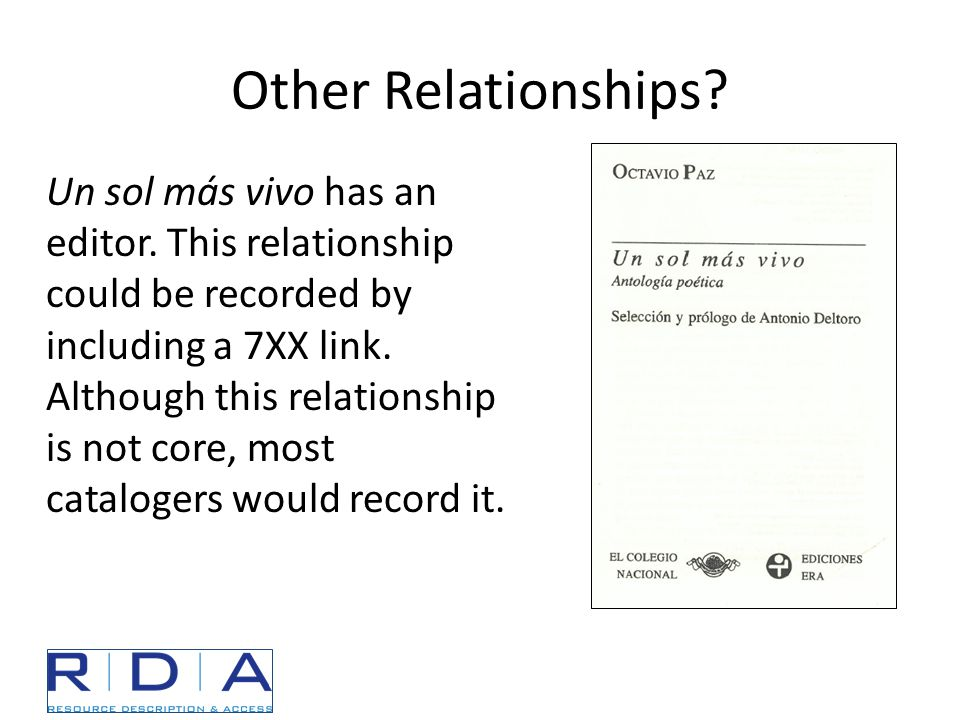 Other Relationships? Un sol más vivo has an editor. This relationship could be recorded by including a 7XX link. Although this relationship is not cor