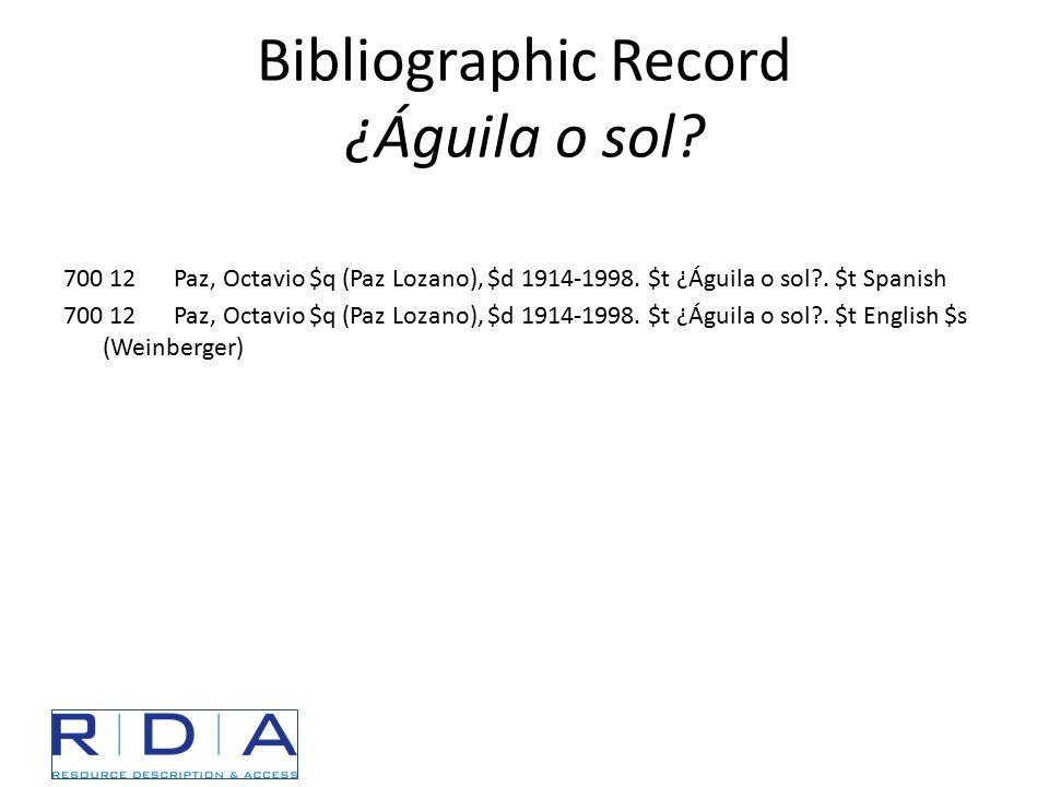 Bibliographic Record ¿Águila o sol? 700 12 Paz, Octavio $q (Paz Lozano), $d 1914-1998. $t ¿Águila o sol?. $t Spanish 700 12 Paz, Octavio $q (Paz Lozan