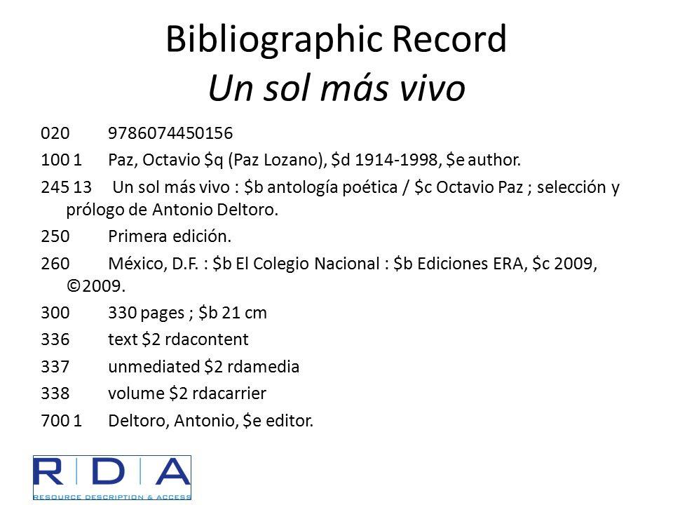 Bibliographic Record Un sol más vivo 0209786074450156 100 1 Paz, Octavio $q (Paz Lozano), $d 1914-1998, $e author. 245 13 Un sol más vivo : $b antolog