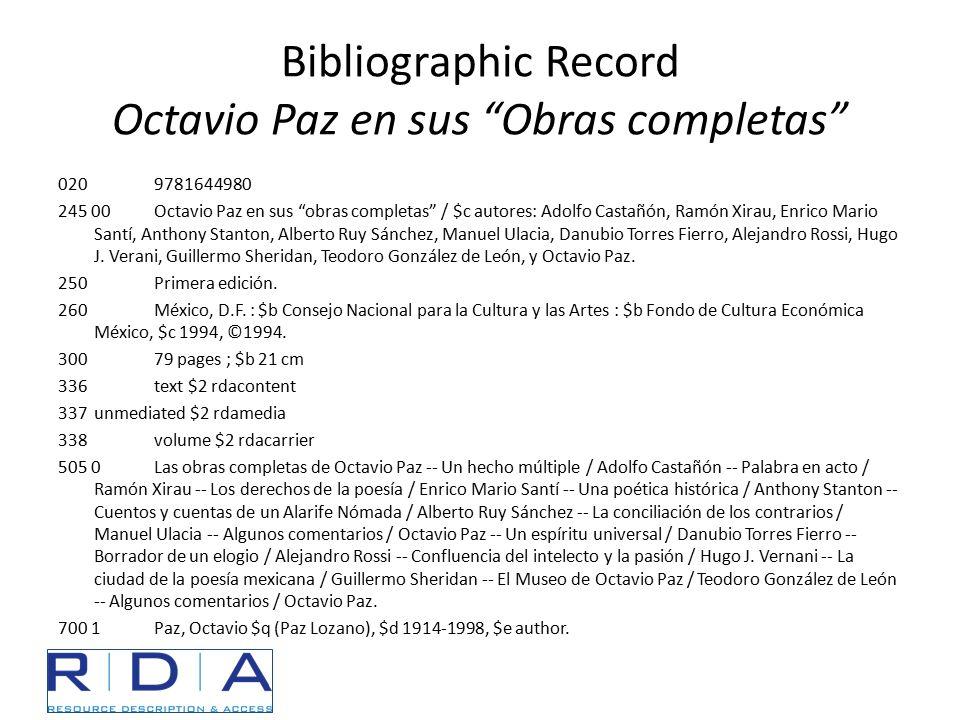 """Bibliographic Record Octavio Paz en sus """"Obras completas"""" 0209781644980 245 00Octavio Paz en sus """"obras completas"""" / $c autores: Adolfo Castañón, Ramó"""