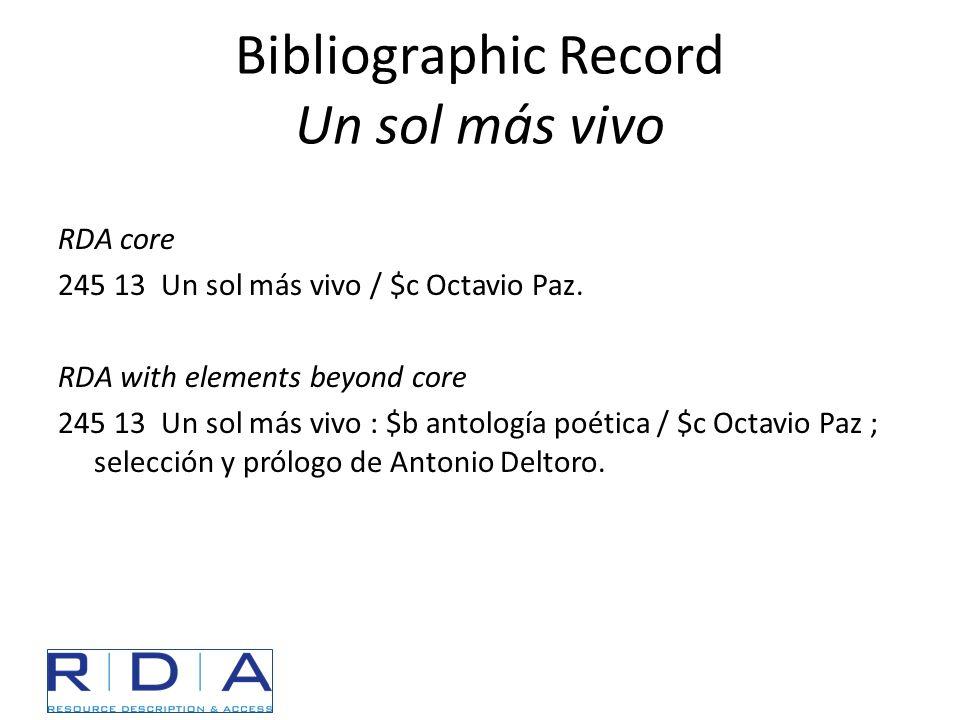 Bibliographic Record Un sol más vivo RDA core 245 13 Un sol más vivo / $c Octavio Paz. RDA with elements beyond core 245 13 Un sol más vivo : $b antol