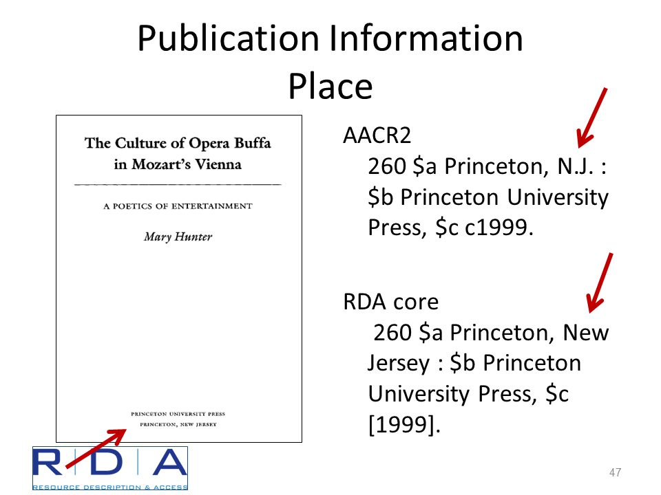 Publication Information Place AACR2 260 $a Princeton, N.J.