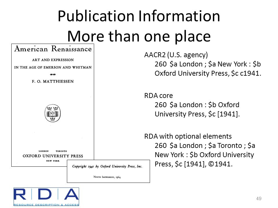 Publication Information More than one place AACR2 (U.S.