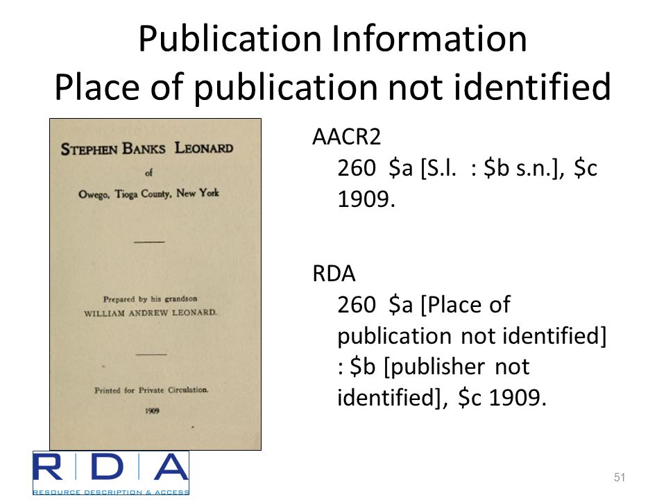Publication Information Place of publication not identified AACR2 260 $a [S.l.