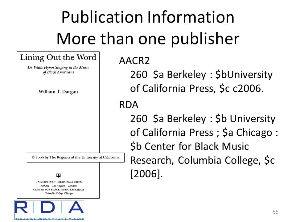 Publication Information More than one publisher AACR2 260 $a Berkeley : $bUniversity of California Press, $c c2006.