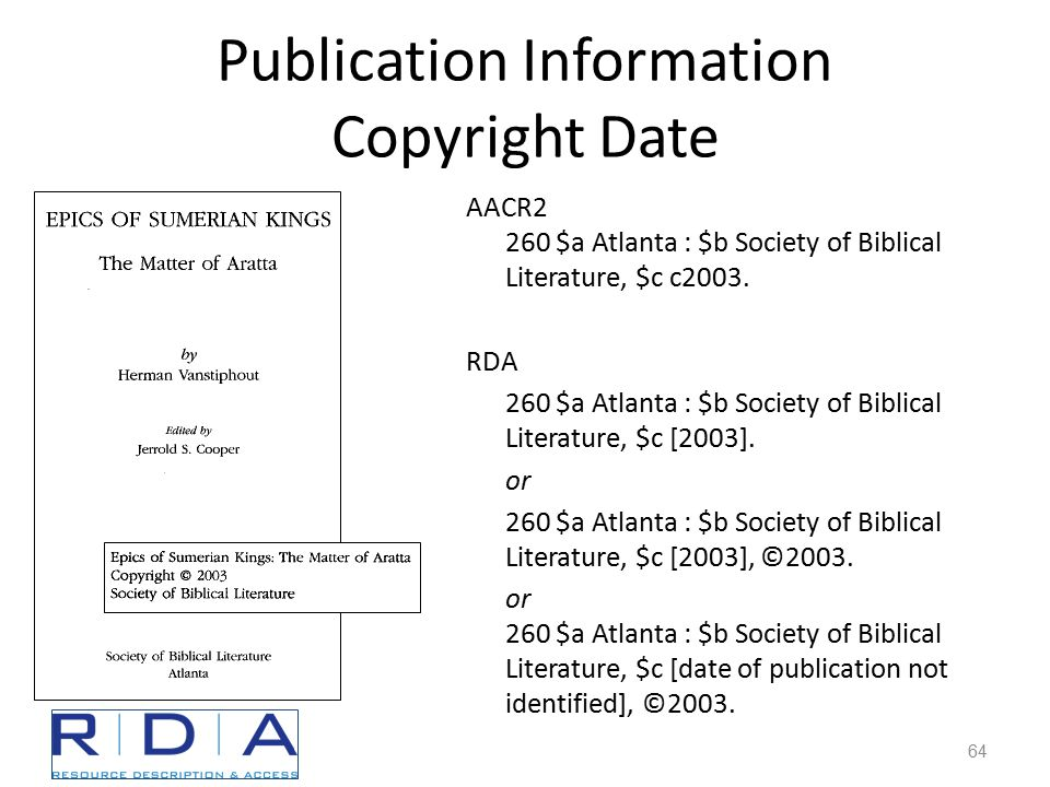 Publication Information Copyright Date AACR2 260 $a Atlanta : $b Society of Biblical Literature, $c c2003.