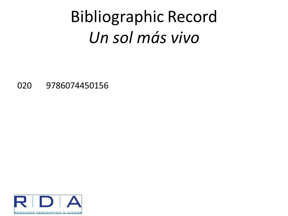 Bibliographic Record Un sol más vivo 0209786074450156