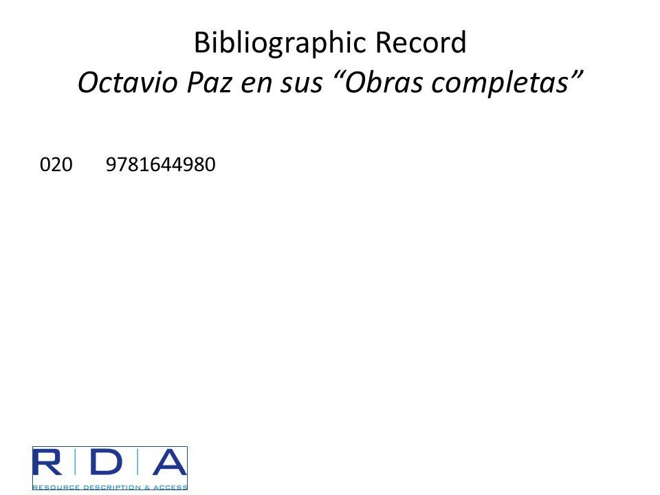 """Bibliographic Record Octavio Paz en sus """"Obras completas"""" 0209781644980"""