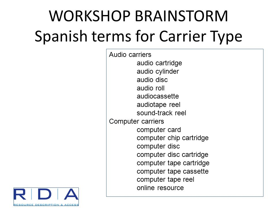 WORKSHOP BRAINSTORM Spanish terms for Carrier Type Audio carriers audio cartridge audio cylinder audio disc audio roll audiocassette audiotape reel sound-track reel Computer carriers computer card computer chip cartridge computer disc computer disc cartridge computer tape cartridge computer tape cassette computer tape reel online resource