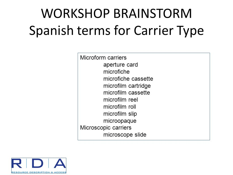 WORKSHOP BRAINSTORM Spanish terms for Carrier Type Microform carriers aperture card microfiche microfiche cassette microfilm cartridge microfilm cassette microfilm reel microfilm roll microfilm slip microopaque Microscopic carriers microscope slide