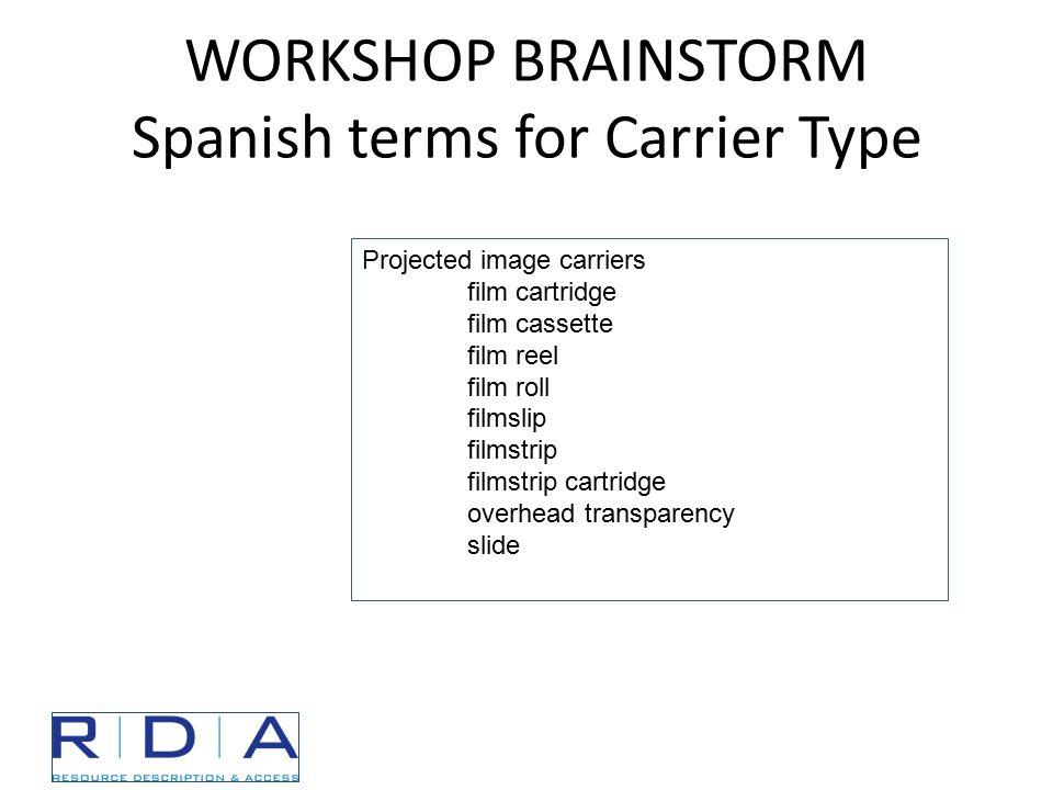WORKSHOP BRAINSTORM Spanish terms for Carrier Type Projected image carriers film cartridge film cassette film reel film roll filmslip filmstrip filmst