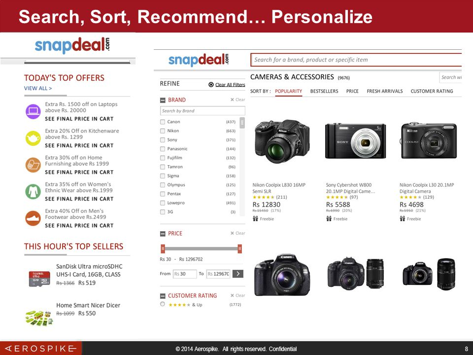 © 2014 Aerospike. All rights reserved. Confidential 8 Search, Sort, Recommend… Personalize