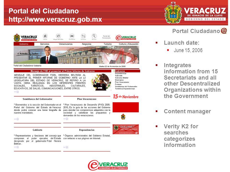 Portal Ciudadano Portal del Ciudadano http://www.veracruz.gob.mx  Launch date:  June 15, 2006  Integrates information from 15 Secretariats and all