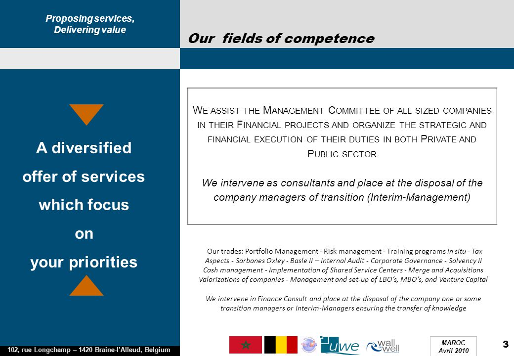 Proposing services, Delivering value 102, rue Longchamp – 1420 Braine-l'Alleud, Belgium MAROC Avril 2010 3 Our fields of competence A diversified offe