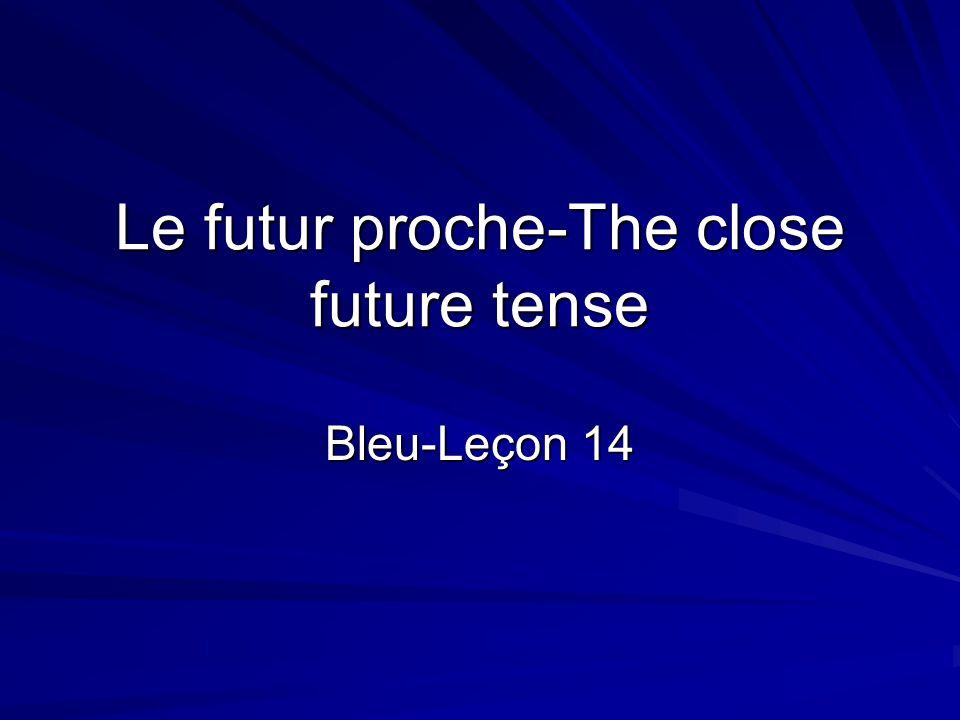 Le futur proche-The close future tense Bleu-Leçon 14