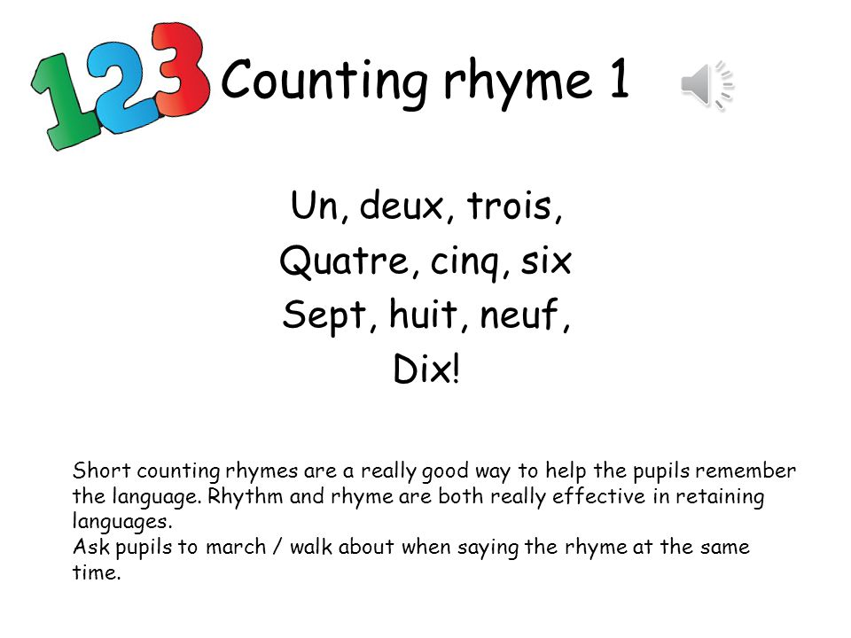 Activité 4 Counting rhymes