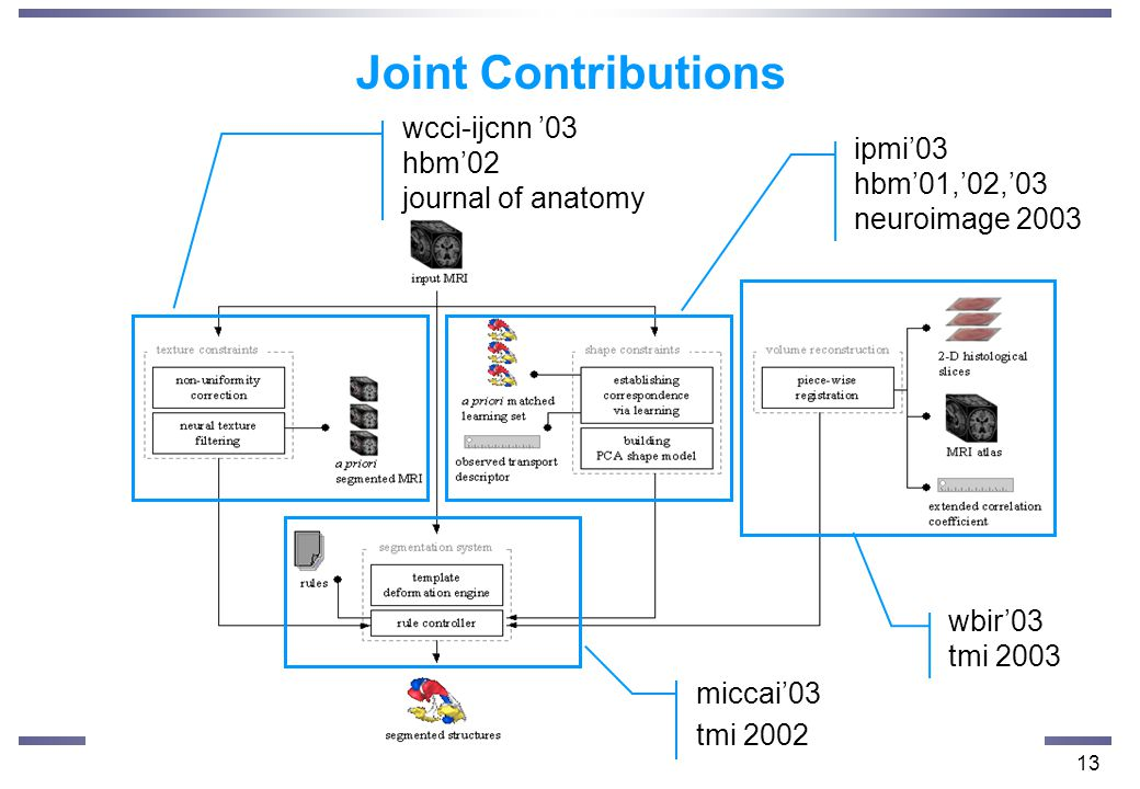 13 wcci-ijcnn '03 hbm'02 journal of anatomy ipmi'03 hbm'01,'02,'03 neuroimage 2003 miccai'03 tmi 2002 wbir'03 tmi 2003 Joint Contributions