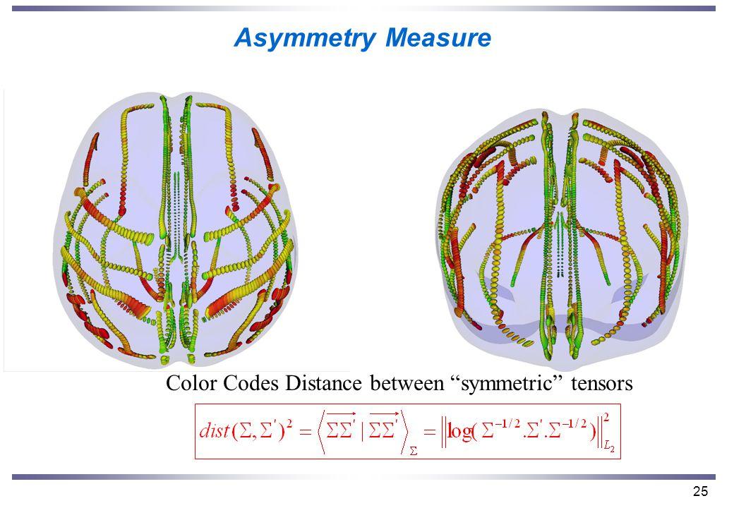 25 Asymmetry Measure Color Codes Distance between symmetric tensors