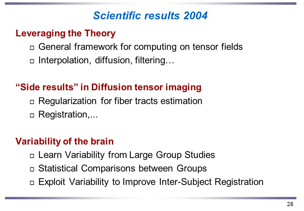 28 Scientific results 2004 Leveraging the Theory o General framework for computing on tensor fields o Interpolation, diffusion, filtering… Side results in Diffusion tensor imaging o Regularization for fiber tracts estimation o Registration,...