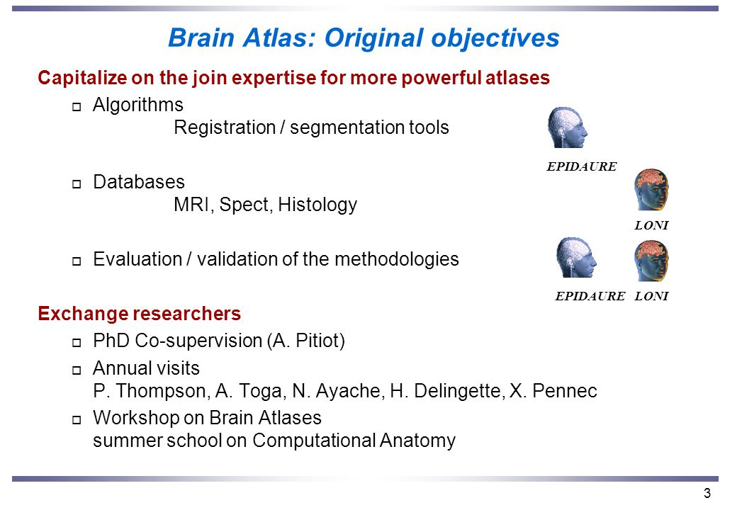 3 Brain Atlas: Original objectives Capitalize on the join expertise for more powerful atlases o Algorithms Registration / segmentation tools o Databases MRI, Spect, Histology o Evaluation / validation of the methodologies Exchange researchers o PhD Co-supervision (A.
