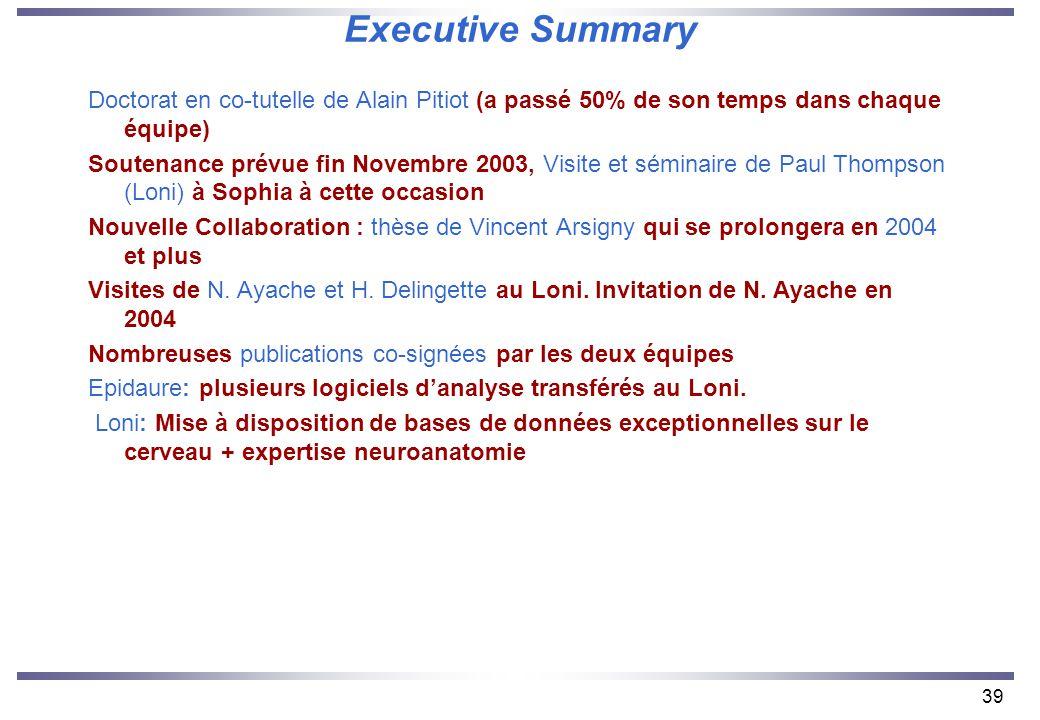39 Executive Summary Doctorat en co-tutelle de Alain Pitiot (a passé 50% de son temps dans chaque équipe) Soutenance prévue fin Novembre 2003, Visite et séminaire de Paul Thompson (Loni) à Sophia à cette occasion Nouvelle Collaboration : thèse de Vincent Arsigny qui se prolongera en 2004 et plus Visites de N.