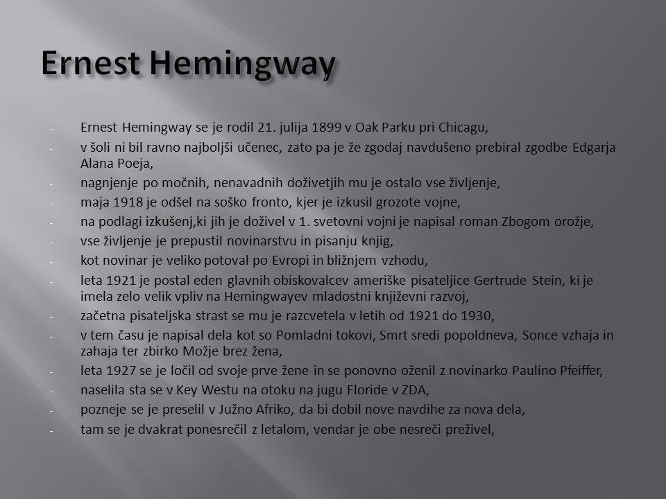 - Ernest Hemingway se je rodil 21.
