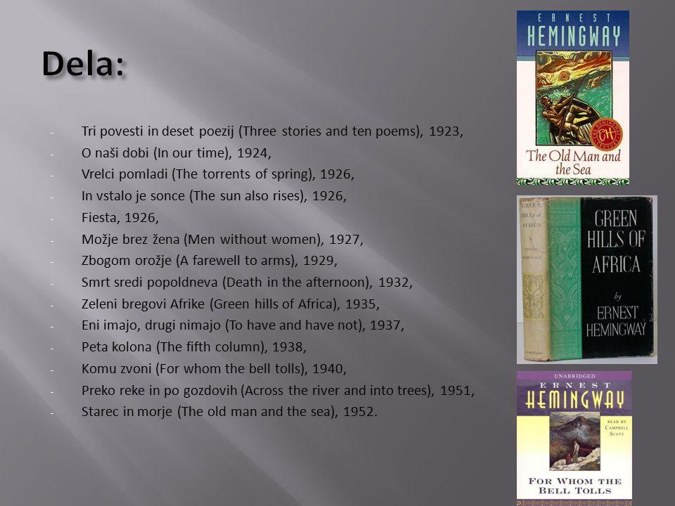 - Tri povesti in deset poezij (Three stories and ten poems), 1923, - O naši dobi (In our time), 1924, - Vrelci pomladi (The torrents of spring), 1926, - In vstalo je sonce (The sun also rises), 1926, - Fiesta, 1926, - Možje brez žena (Men without women), 1927, - Zbogom orožje (A farewell to arms), 1929, - Smrt sredi popoldneva (Death in the afternoon), 1932, - Zeleni bregovi Afrike (Green hills of Africa), 1935, - Eni imajo, drugi nimajo (To have and have not), 1937, - Peta kolona (The fifth column), 1938, - Komu zvoni (For whom the bell tolls), 1940, - Preko reke in po gozdovih (Across the river and into trees), 1951, - Starec in morje (The old man and the sea), 1952.