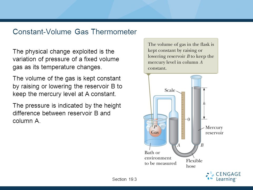 Constant-Volume Gas Thermometer The physical change exploited is the variation of pressure of a fixed volume gas as its temperature changes.