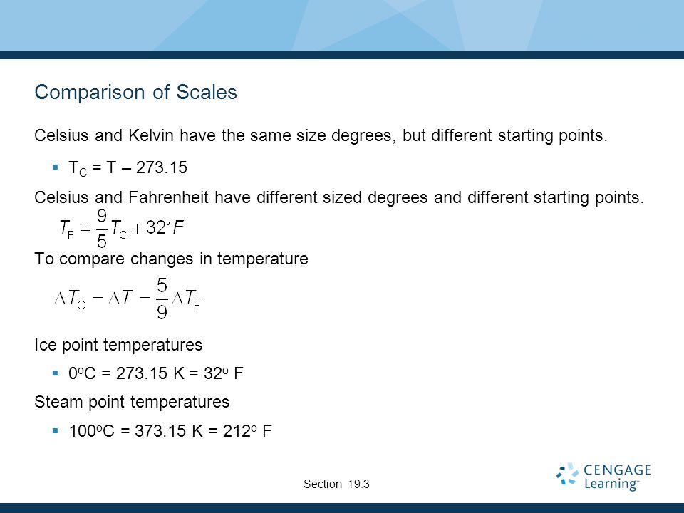 Comparison of Scales Celsius and Kelvin have the same size degrees, but different starting points.