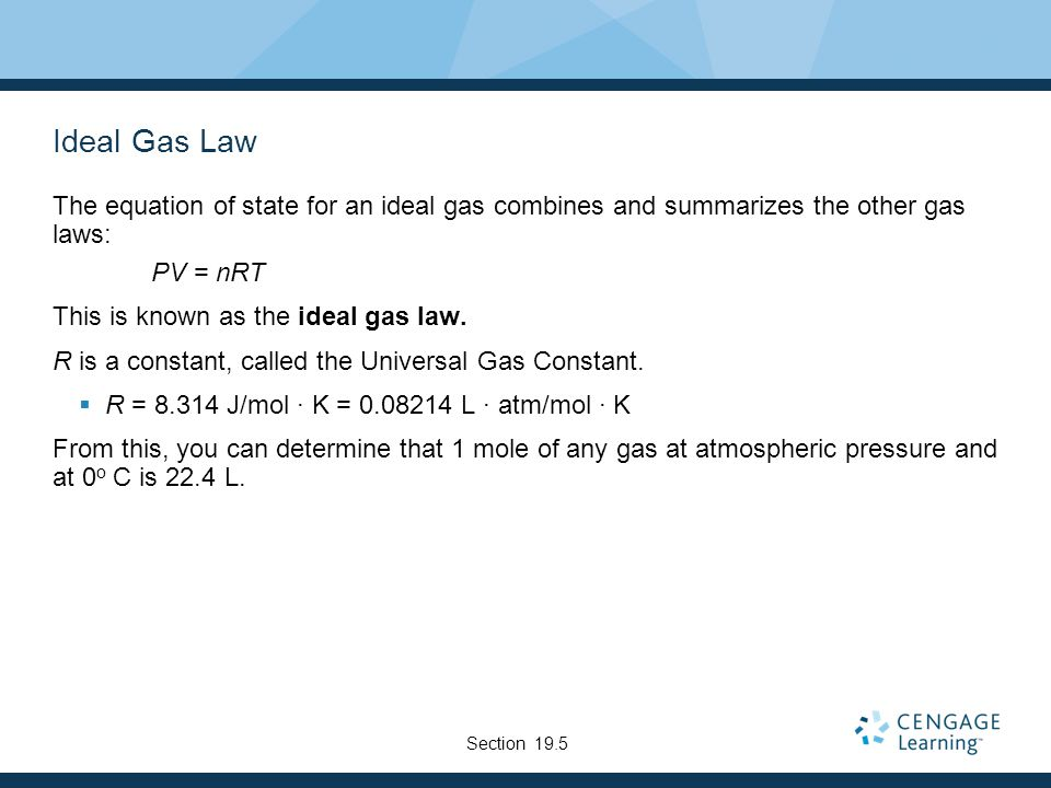 Ideal Gas Law The equation of state for an ideal gas combines and summarizes the other gas laws: PV = nRT This is known as the ideal gas law.