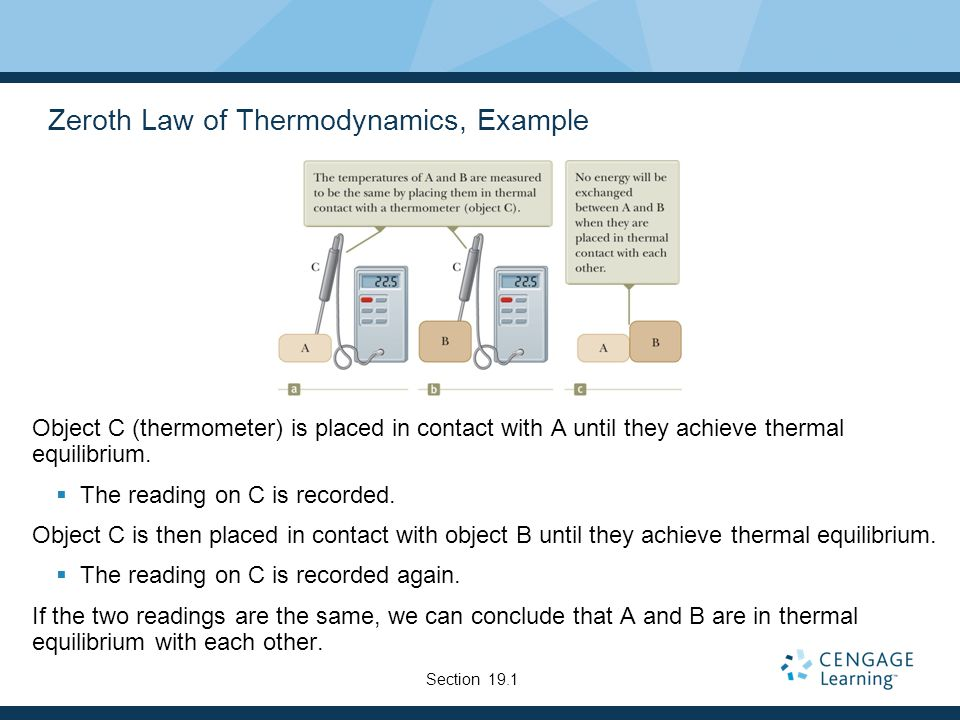 Zeroth Law of Thermodynamics, Example Object C (thermometer) is placed in contact with A until they achieve thermal equilibrium.