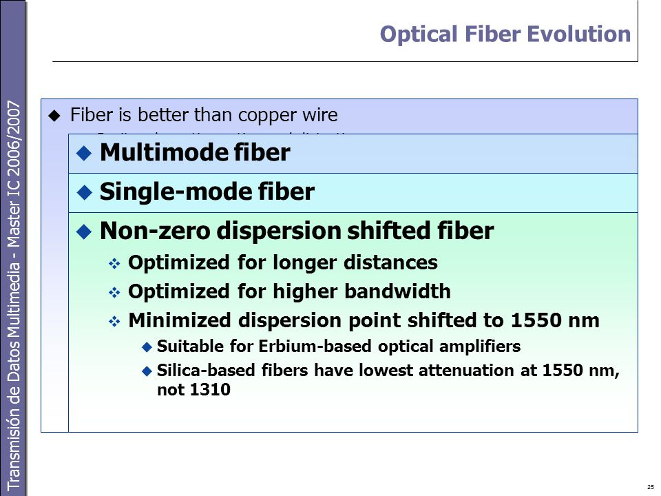 Transmisión de Datos Multimedia - Master IC 2006/2007 25 Optical Fiber Evolution  Fiber is better than copper wire  Purity – low attenuation and distortion  Longer distances, lower bit error rates  Higher frequency signals – massive bandwidth  Different wavelengths – massive bandwidth  Immunity to noise  Security – difficult to tap  Small size and weight  Easier installation  Bundles of fibers in same space as copper wire  Multimode fiber  Low cost – LEDs, not lasers  Many wavelengths (modes)  Dispersion – limits bandwidth and distance  Light pulses spread out  Intramodal – different delay per mode  Typically 2 km maximum distance  Large diameter cores – for multiple modes  Initially flat profile  Stepped end improves performance  Single-mode fiber  One wavelength – small core  Less interference and loss  Greater distance (up to 100 km)  More expensive components – lasers  Minimized dispersion point at 1310 nm  Not suitable for EDFA (Erbium Doped Fiber-optic Amplifier)  Non-zero dispersion shifted fiber  Optimized for longer distances  Optimized for higher bandwidth  Minimized dispersion point shifted to 1550 nm  Suitable for Erbium-based optical amplifiers  Silica-based fibers have lowest attenuation at 1550 nm, not 1310