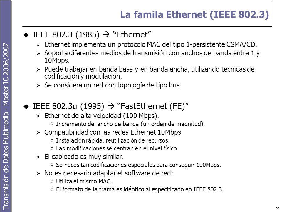 Transmisión de Datos Multimedia - Master IC 2006/2007 33 La famila Ethernet (IEEE 802.3)  IEEE 802.3 (1985)  Ethernet  Ethernet implementa un protocolo MAC del tipo 1-persistente CSMA/CD.