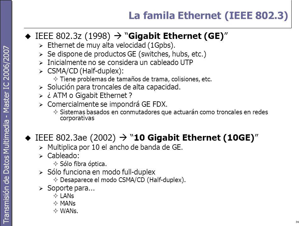 Transmisión de Datos Multimedia - Master IC 2006/2007 34 La famila Ethernet (IEEE 802.3)  IEEE 802.3z (1998)  Gigabit Ethernet (GE)  Ethernet de muy alta velocidad (1Gpbs).