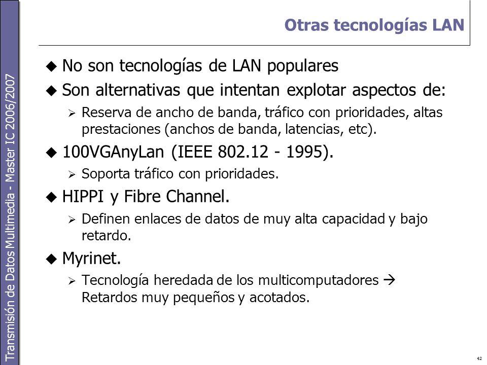 Transmisión de Datos Multimedia - Master IC 2006/2007 42 Otras tecnologías LAN  No son tecnologías de LAN populares  Son alternativas que intentan explotar aspectos de:  Reserva de ancho de banda, tráfico con prioridades, altas prestaciones (anchos de banda, latencias, etc).