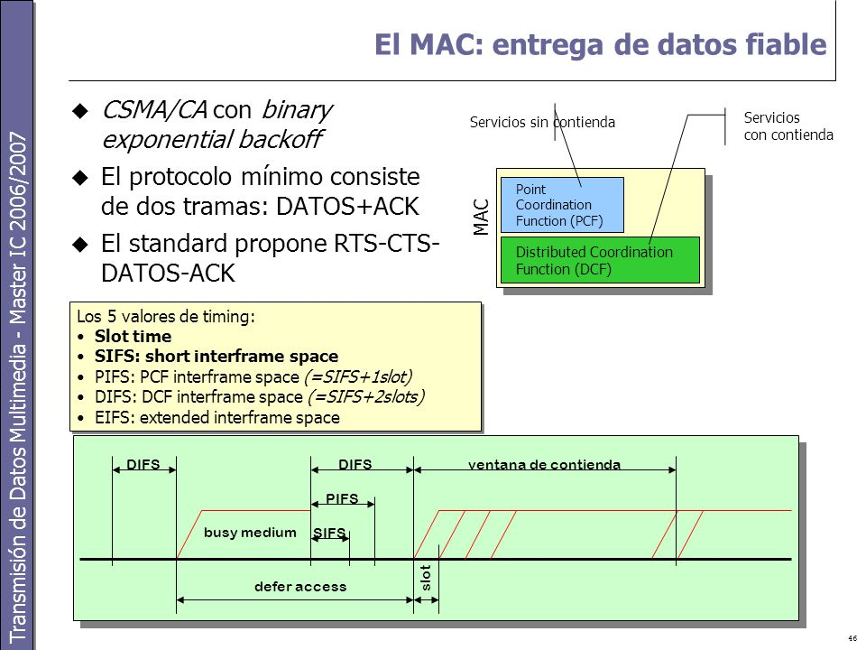 Transmisión de Datos Multimedia - Master IC 2006/2007 46 El MAC: entrega de datos fiable  CSMA/CA con binary exponential backoff  El protocolo mínimo consiste de dos tramas: DATOS+ACK  El standard propone RTS-CTS- DATOS-ACK Point Coordination Function (PCF) Distributed Coordination Function (DCF) MAC Servicios sin contienda Servicios con contienda DIFS PIFS SIFS ventana de contienda defer access busy medium slot Los 5 valores de timing: Slot time SIFS: short interframe space PIFS: PCF interframe space (=SIFS+1slot) DIFS: DCF interframe space (=SIFS+2slots) EIFS: extended interframe space Los 5 valores de timing: Slot time SIFS: short interframe space PIFS: PCF interframe space (=SIFS+1slot) DIFS: DCF interframe space (=SIFS+2slots) EIFS: extended interframe space