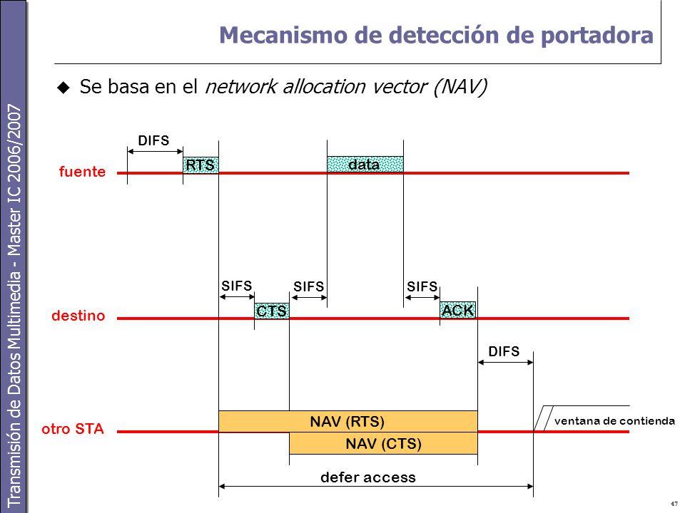Transmisión de Datos Multimedia - Master IC 2006/2007 47 Mecanismo de detección de portadora  Se basa en el network allocation vector (NAV) RTS DIFS CTS SIFS data ACK SIFS DIFS NAV (RTS) NAV (CTS) fuente destino otro STA defer access ventana de contienda