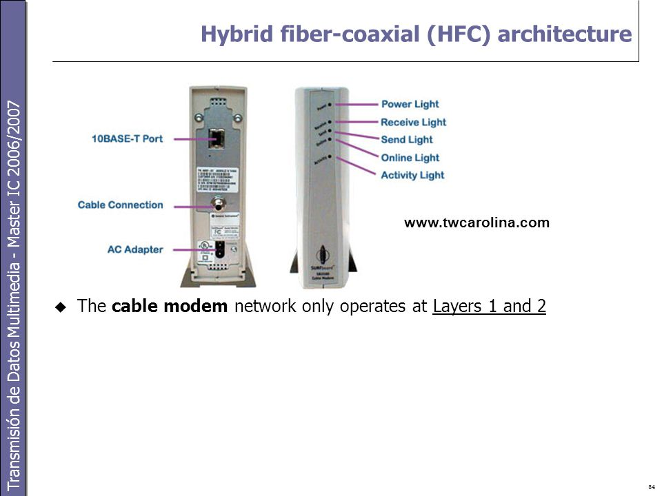 Transmisión de Datos Multimedia - Master IC 2006/2007 84 Hybrid fiber-coaxial (HFC) architecture  The cable modem network only operates at Layers 1 and 2 www.twcarolina.com