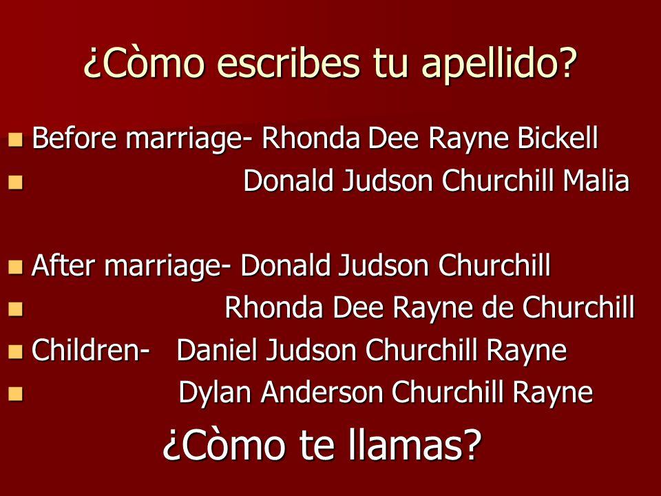 ¿Còmo te llamas. Me llamo Rhonda Dee Rayne. Me llamo Rhonda Dee Rayne.