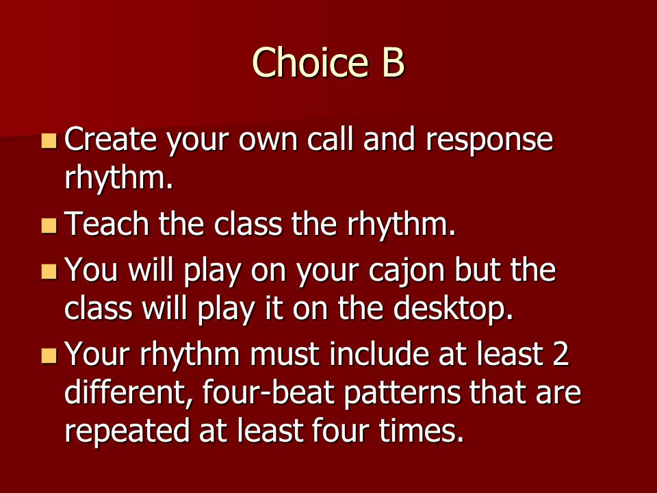 Choice A Write a song in English about something we have studied in this unit.