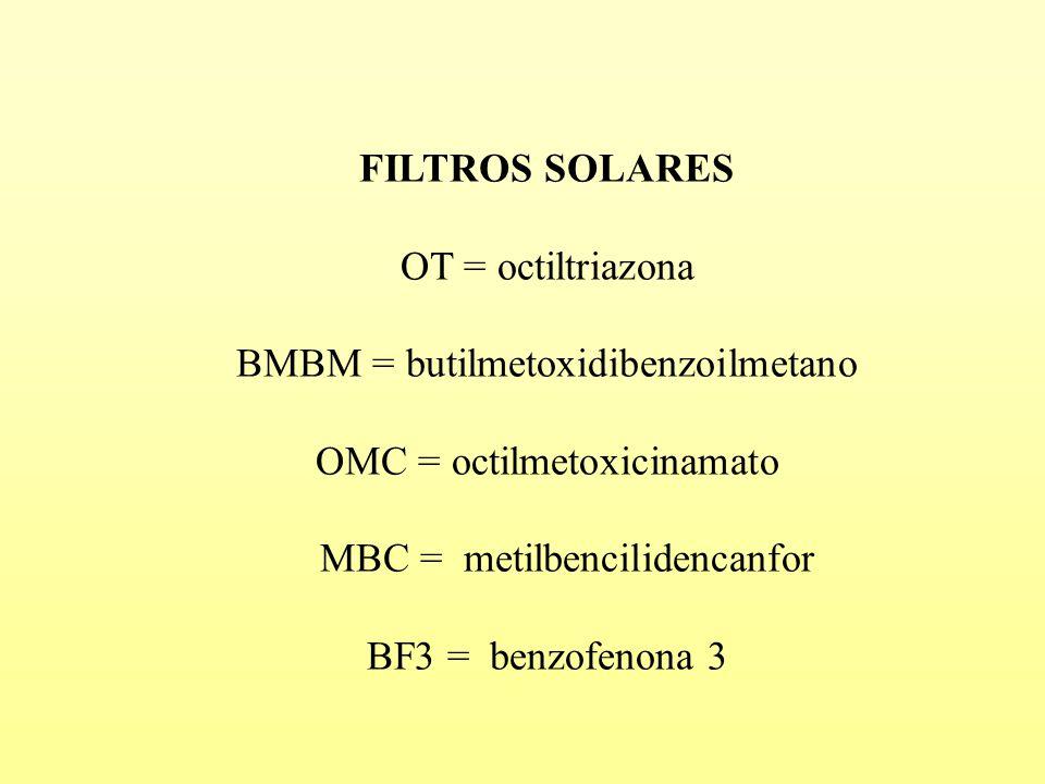 FILTROS SOLARES OT = octiltriazona BMBM = butilmetoxidibenzoilmetano OMC = octilmetoxicinamato MBC = metilbencilidencanfor BF3 = benzofenona 3