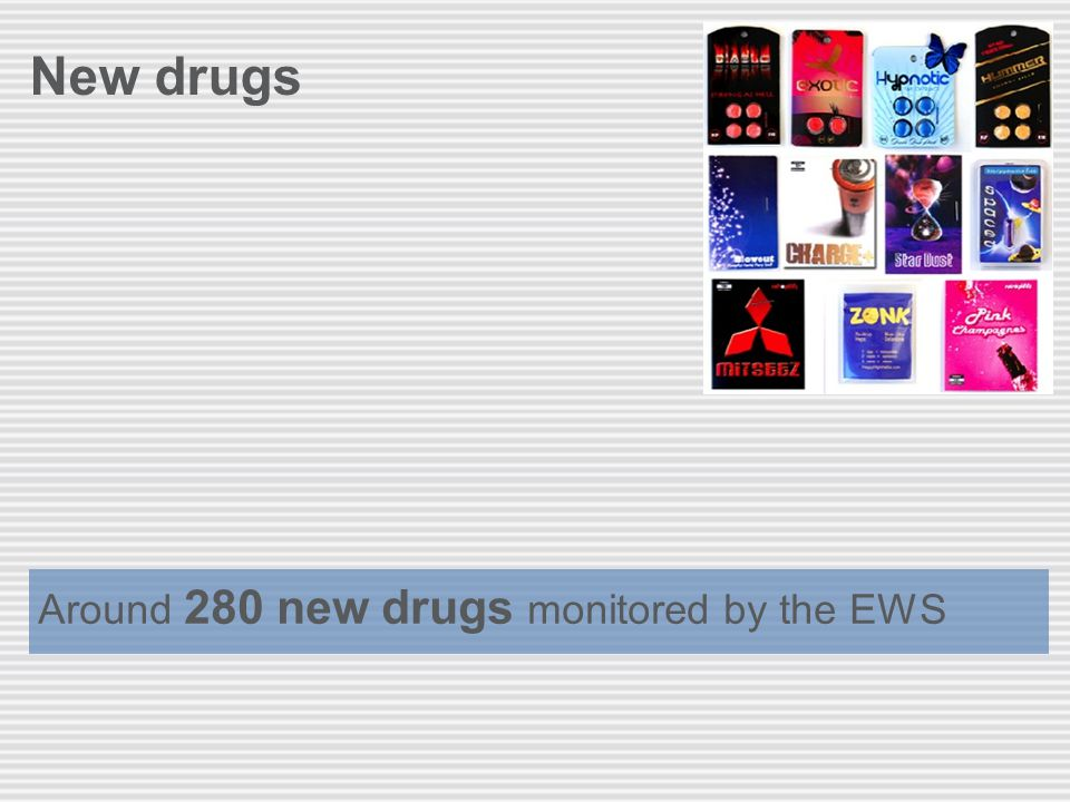 New drugs Around 280 new drugs monitored by the EWS