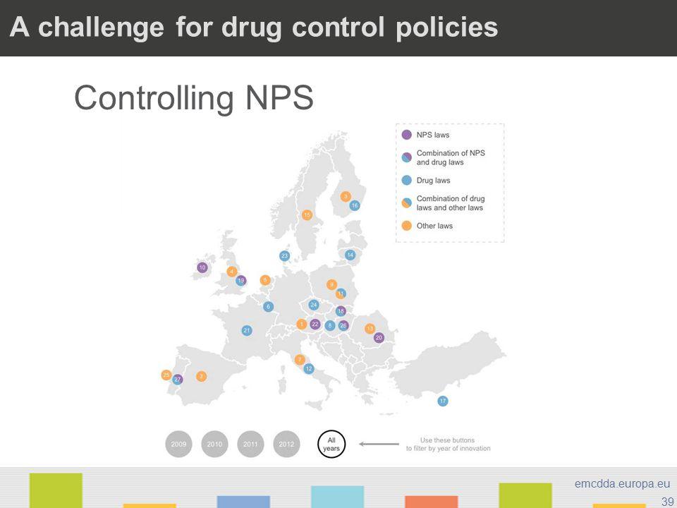 39 emcdda.europa.eu A challenge for drug control policies Controlling NPS