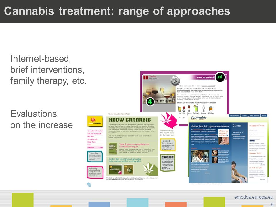 9 emcdda.europa.eu Cannabis treatment: range of approaches Internet-based, brief interventions, family therapy, etc.