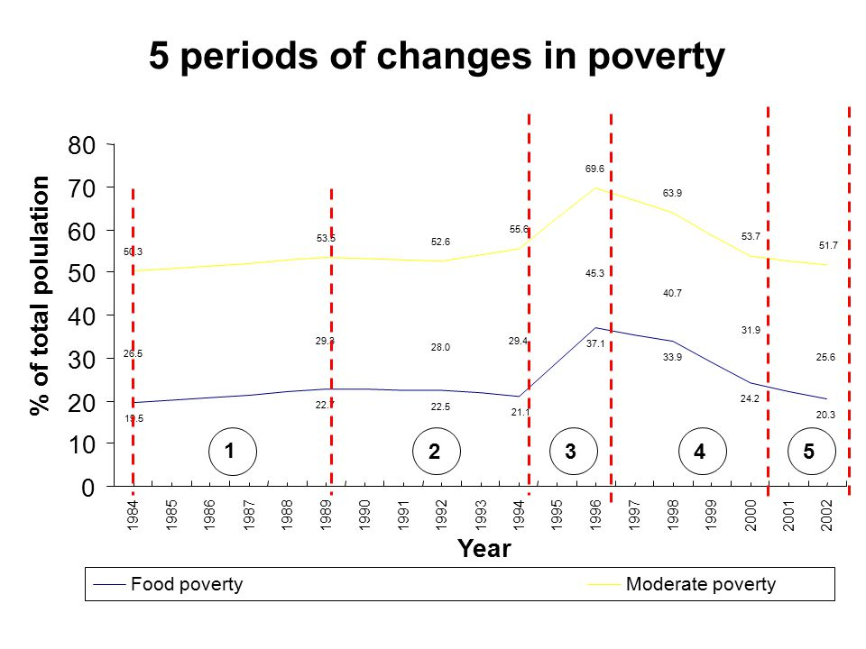 5 periods of changes in poverty 19.5 22.7 22.5 21.1 37.1 33.9 24.2 20.3 26.5 29.3 28.0 29.4 45.3 40.7 31.9 25.6 50.3 53.5 52.6 55.6 69.6 63.9 53.7 51.7 0 10 20 30 40 50 60 70 80 19841985198619871988 19891990199119921993199419951996 19971998 1999 200020012002 Year % of total polulation Food povertyModerate poverty 2345 1